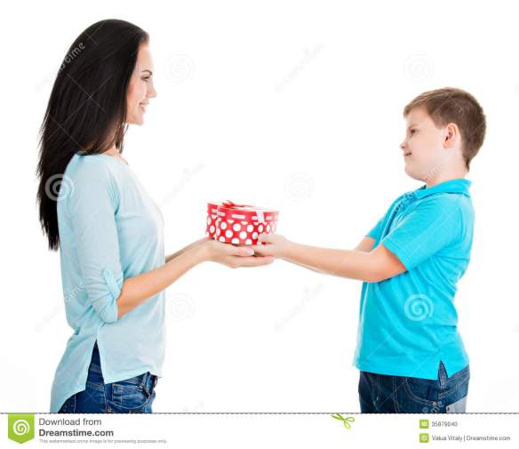 happy-son-giving-gift-to-his-mother-isolated-white-35879040